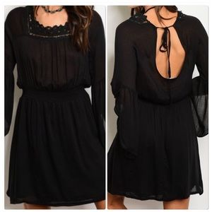 Long Bell Sleeve Smock Waist Tunic Dress